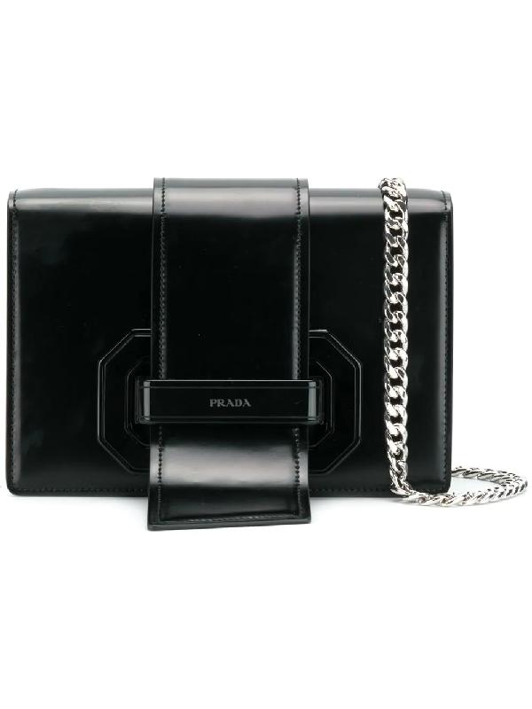 f5b5b8694ba7 Prada Plex Ribbon Leather Shoulder Bag In Black | ModeSens