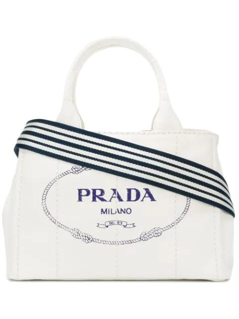 29fb98b1bdc1de Prada Giardiniera Tote Bag In F0Ub0 Bianco/Blue | ModeSens