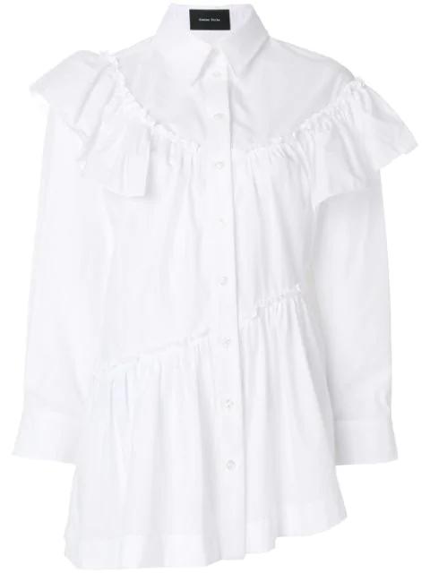 Simone Rocha Embellished-Collar Tie-Waist Cotton Shirt In White