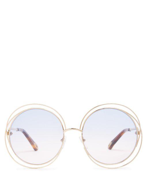 1a029c28767b ChloÉ Carlina Round-Frame Sunglasses In Pink Multi