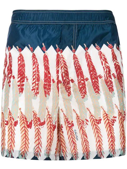 ec4c6da242 Valentino Feather-Print Swim Shorts In White | ModeSens