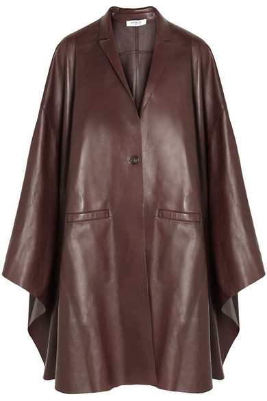 Givenchy Bordeaux Leather Cape In Burgundy