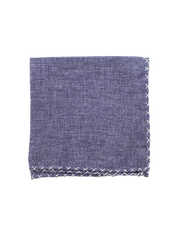 Eleventy Solid Pocket Square With Stitching In Ink
