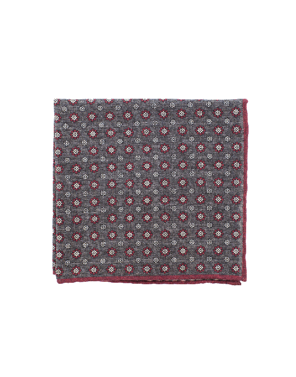 Eleventy Pocket Square With Flowers In Brn-Red
