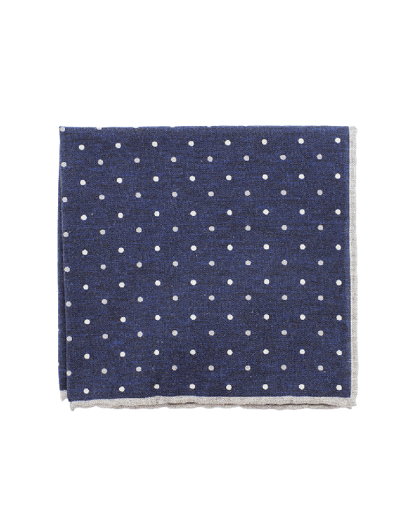 Eleventy Pocket Square With Polka Dots In Gry-Nvy