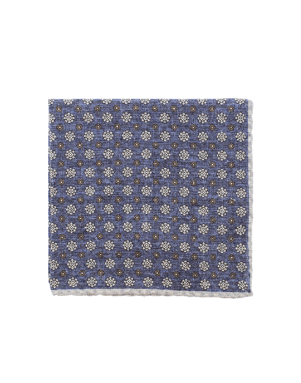 Eleventy Pocket Square With Flowers In Nvy-Bge