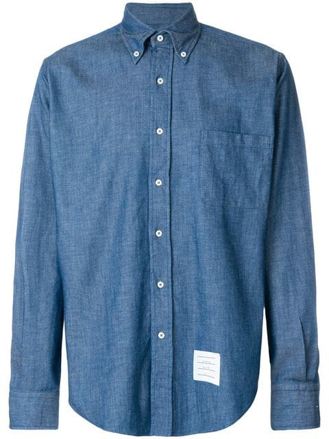 Thom Browne Regular Fit Long Sleeve Shirt In Shirting Denim In Blue