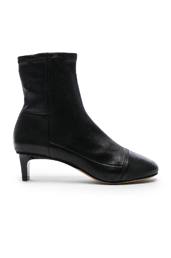Isabel Marant Daevel Leather Ankle Boots In Black