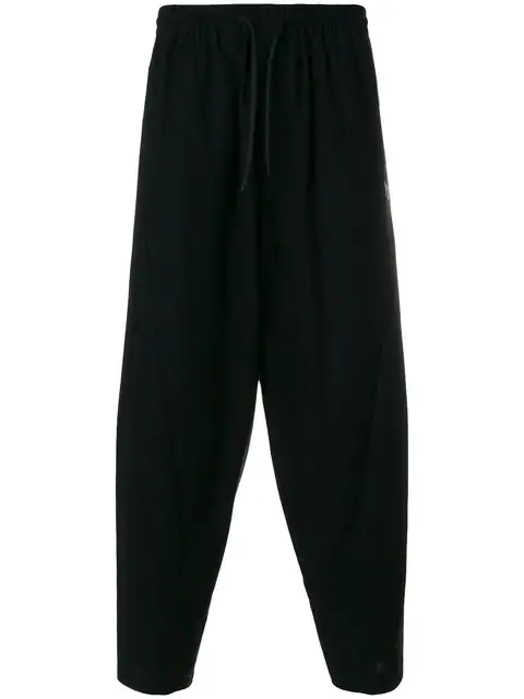 Y-3 Mid-rise Cotton-twill Trousers In Black