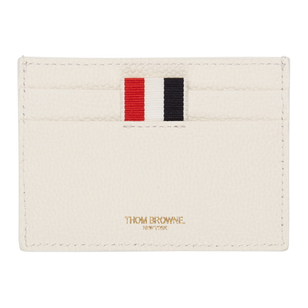 Thom Browne White Buffalo Check Single Card Holder in 960 Rwbwht