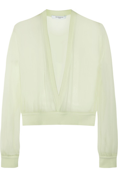 Givenchy Woman V-neck Sweater In Mint Silk-chiffon Mint