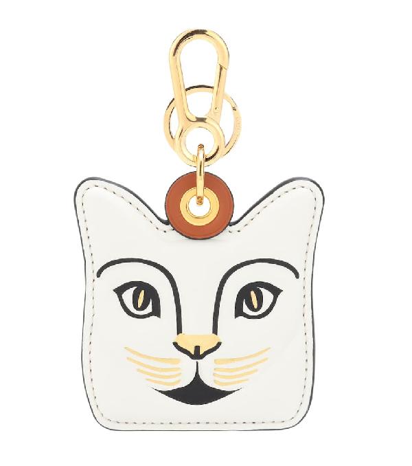 Loewe Cat Leather Bag Charm In White