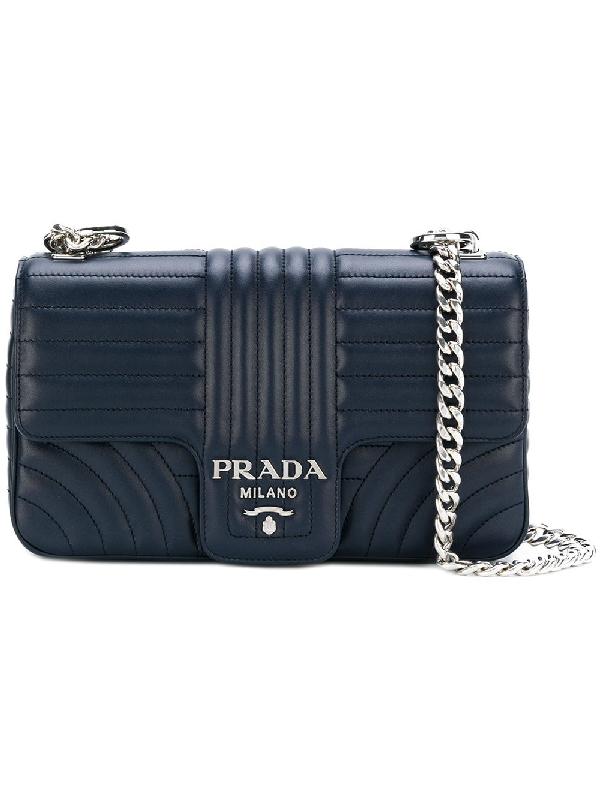 1928d1894324 Prada Diagramme Leather Shoulder Bag In Blue | ModeSens