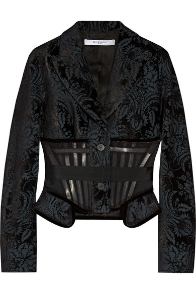 Givenchy Jacket In Flocked Wool-blend Canvas In Black