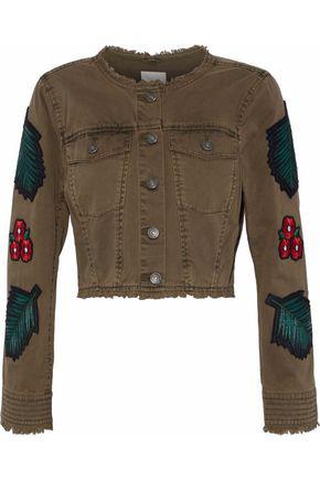 Cinq À Sept Woman Halina Cropped AppliquÉD Denim Jacket Army Green
