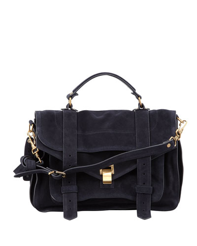Proenza Schouler Ps1 Tiny Suede Satchel Bag, Blue, Navy