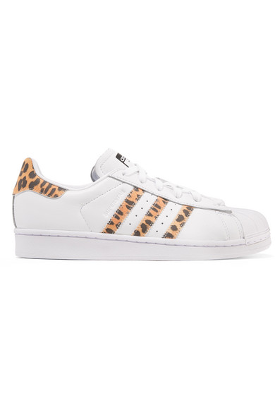 the best attitude 1ed5d 043c2 Adidas Originals Superstar Leopard Print-Trimmed Leather Sneakers In White