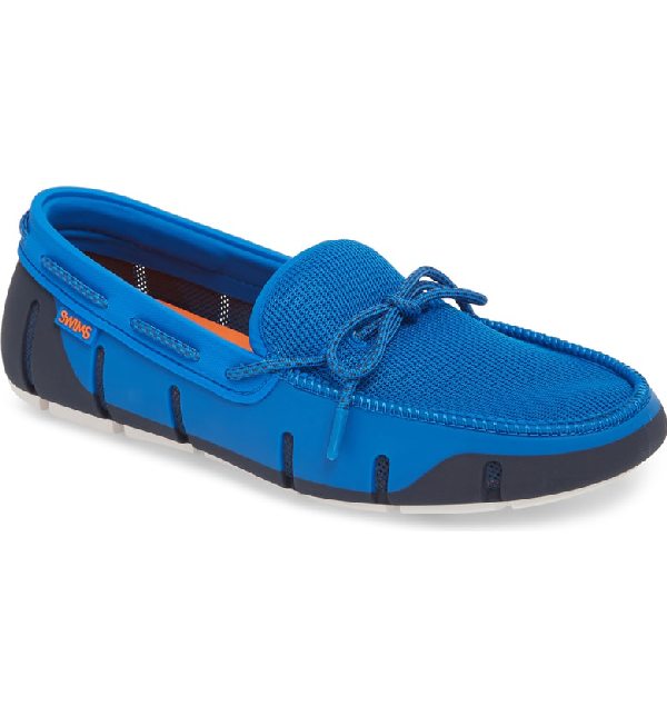 Swims Mesh & Rubber Braided-Lace Boat Shoe In Blitz Blue/ Navy / White Fleck