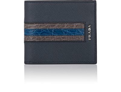 63605c52c1470c Prada Saffiano Leather Bi-Fold Wallet With Crocodile Stripe In Blue ...