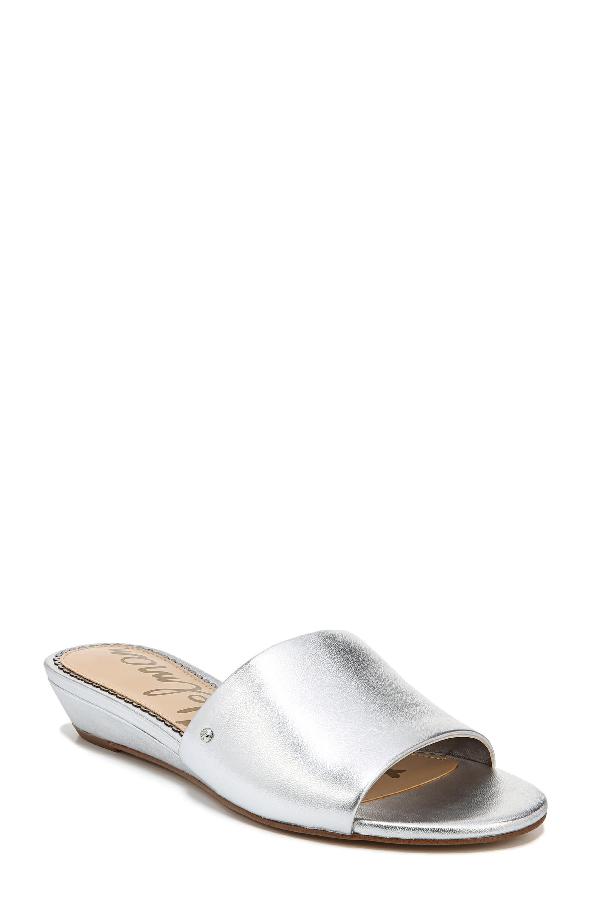 Sam Edelman Liliana Metallic Leather Demi-wedge Slide Sandal In Silver Leather