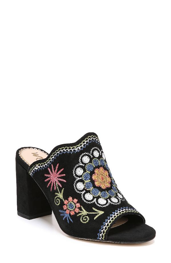 Sam Edelman Olive Mule In Black Multi Embroidery Suede
