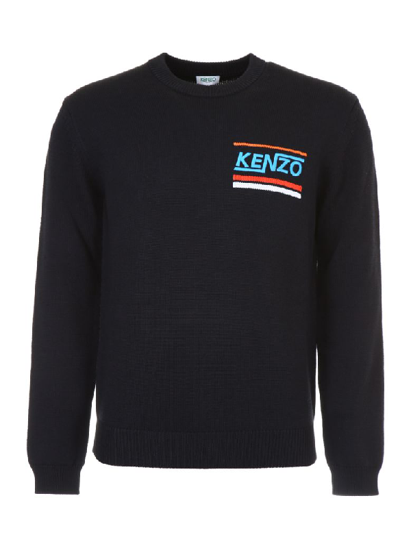 Kenzo Pullover With Embroidered Logo In Noirnero
