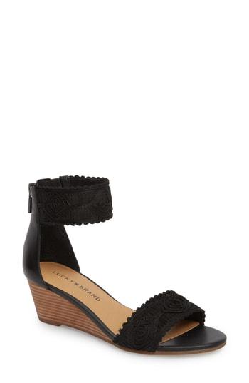 Lucky Brand Joshelle Wedge Sandal In Black Leather