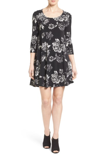 Karen Kane 'maggie' Floral Print Trapeze Dress In Black Floral