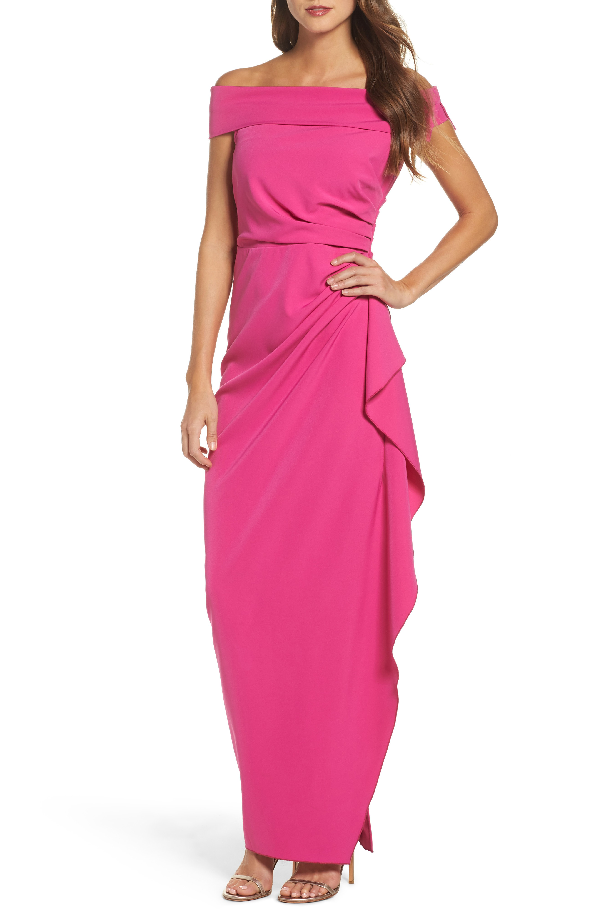 Vince Camuto Off The Shoulder Crepe Gown In Fuchsia
