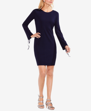 Vince Camuto Ribbed Grommet-sleeve Sweater Dress In Night Sky