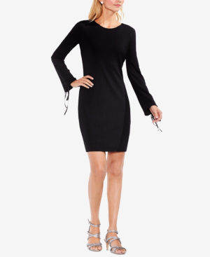 Vince Camuto Ribbed Grommet-sleeve Sweater Dress In Rich Black