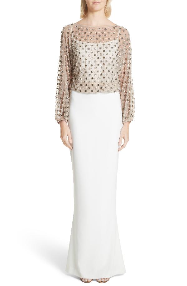 Rachel Gilbert Nora Beaded Blouson Column Gown In Ivory