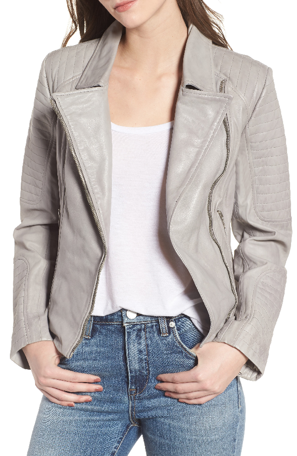 Bb Dakota Dominic Leather Moto Jacket In Stone Grey