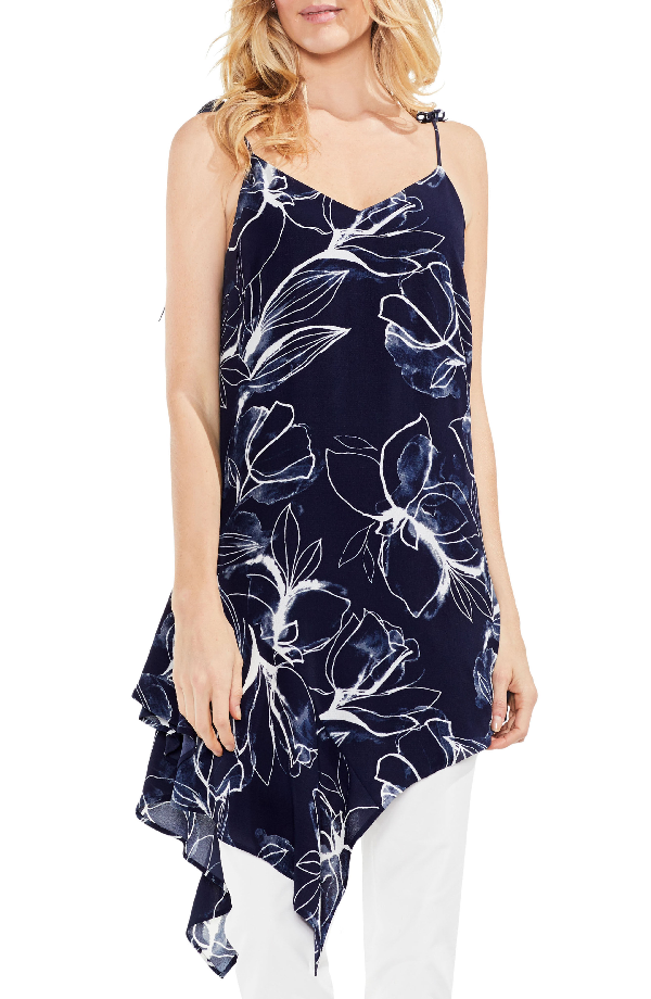 Vince Camuto Fresco Petals Asymmetrical Tunic In Night Sky