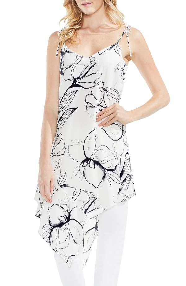 Vince Camuto Fresco Petals Asymmetrical Tunic In New Ivory
