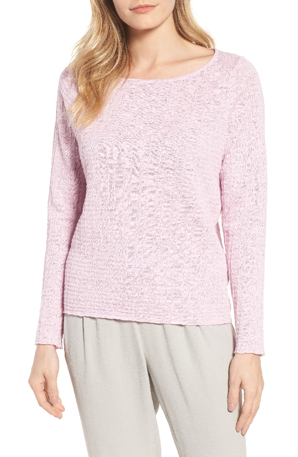 Eileen Fisher Organic Linen & Cotton Sweater In Quartz