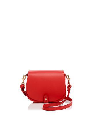 Celine Lefebure Camille Mini Leather Saddle Bag In Coral/gold