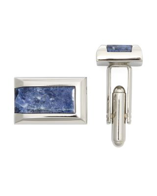 The Men's Store At Bloomingdale's Polished Rhodium Sodalite Rectangle Cufflinks - 100% Exclusive In Silver
