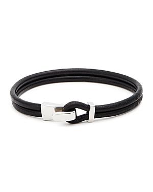 Aubaine Leather Wrap Bracelet In Black