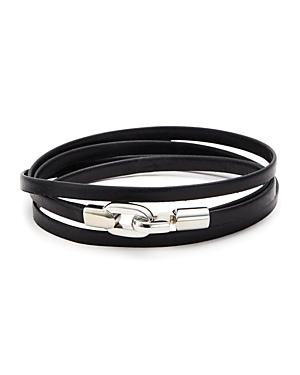 Aubaine Leather Double Wrap Bracelet In Black