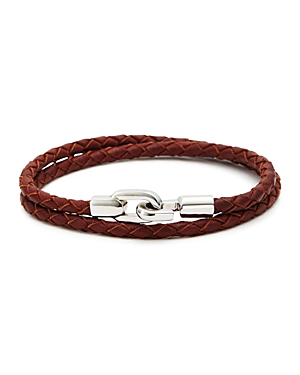 Aubaine Braided Leather Wrap Bracelet In Brown