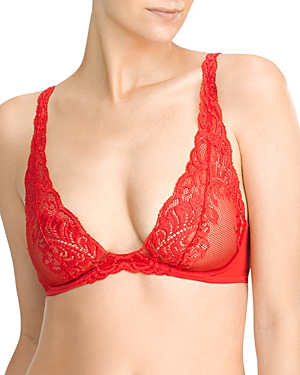 Natori Feathers Wireless Convertible Bralette In Real Red