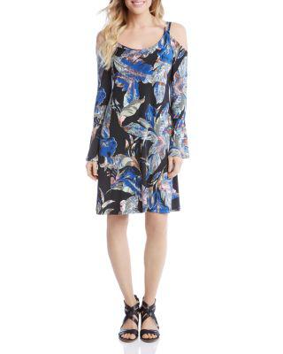 Karen Kane Leaf Print Cold Shoulder Dress In Multi