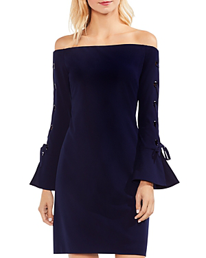 Vince Camuto Lace-up Sleeve Off The Shoulder Ponte Dress In Night Sky