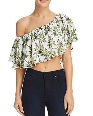 Show Me Your Mumu Hayworth Off-the-shoulder Ruffled Crop Top - 100% Exclusive In Walk The Palm Cruise
