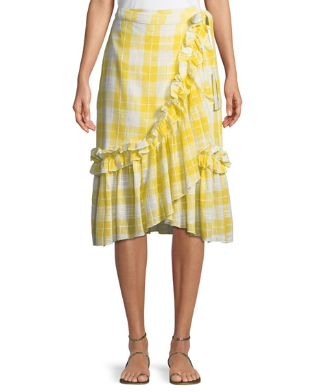 Red Carter Gingham Ruffled Wrap Skirt In Yellow