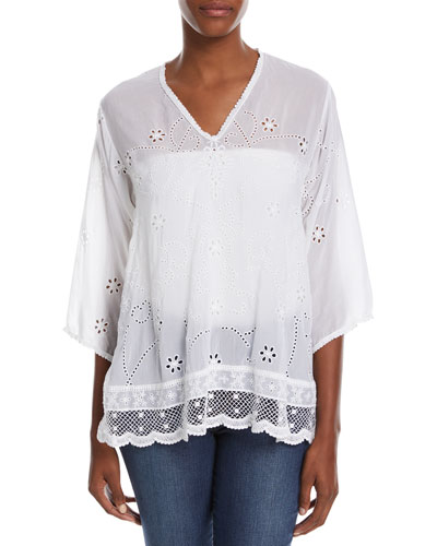 Johnny Was Charming Embroidered Tunic In White
