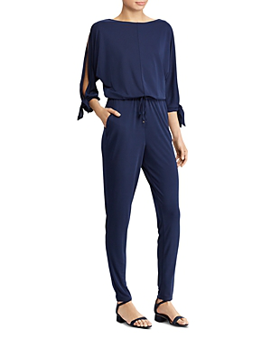 Ralph Lauren Lauren  Jersey Split-sleeve Jumpsuit In Navy