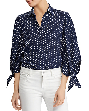 Ralph Lauren Lauren  Silk Dotted Tie-sleeve Top - 100% Exclusive In Navy/white