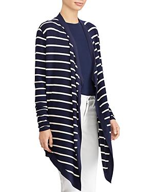 Ralph Lauren Lauren  Striped Drape Cardigan In Navy Multi